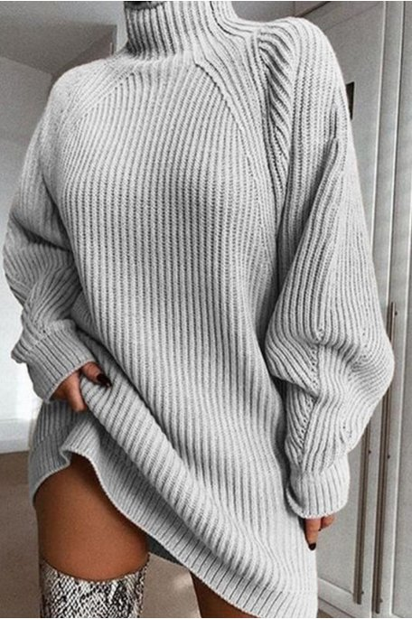 Robe pull en maille col montant gris