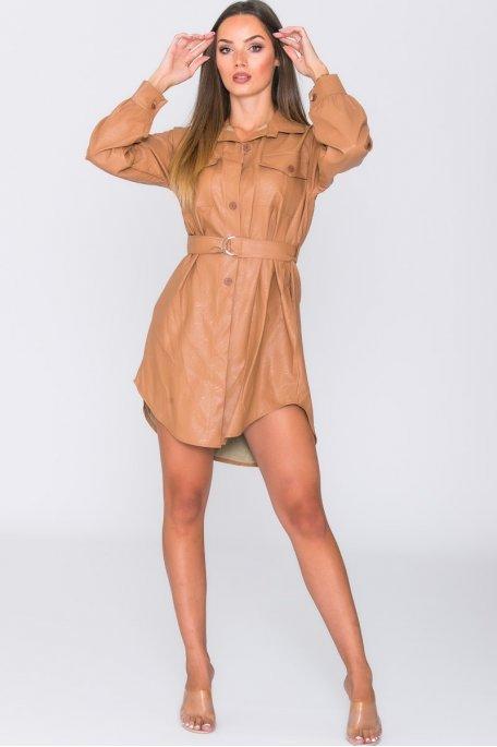 Robe chemise simili ceinturée camel