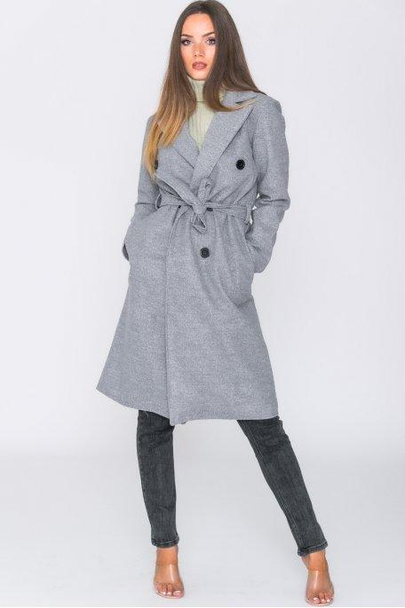 Manteau long ceinturé uni gris