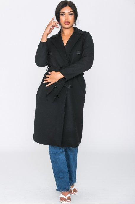 Manteau long ceinturé uni noir