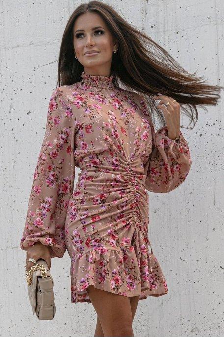 Robe fleurie froncée col montant rose