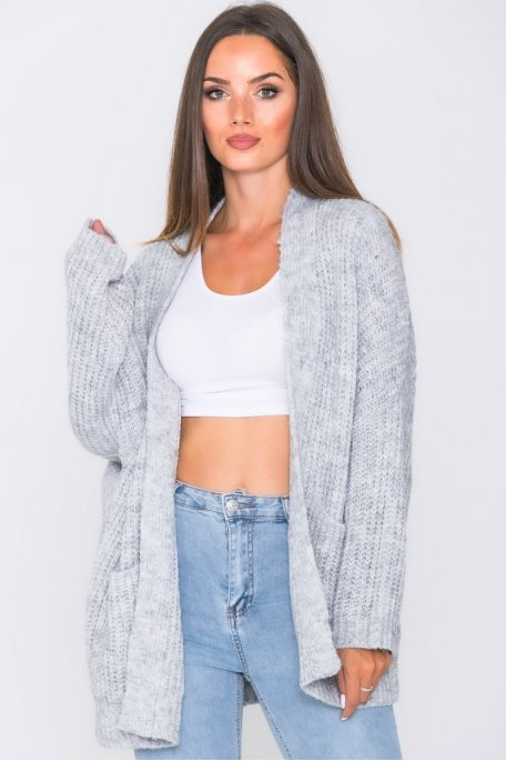 Gilet oversize grosse maille maille gris