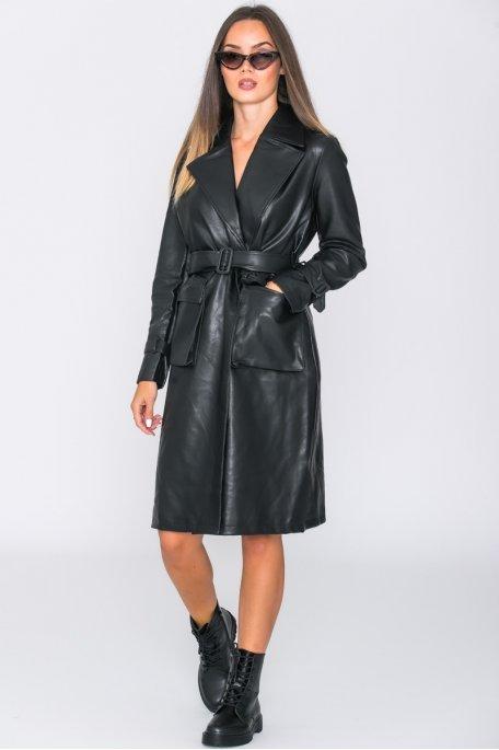 Manteau long ceinturé simili noir