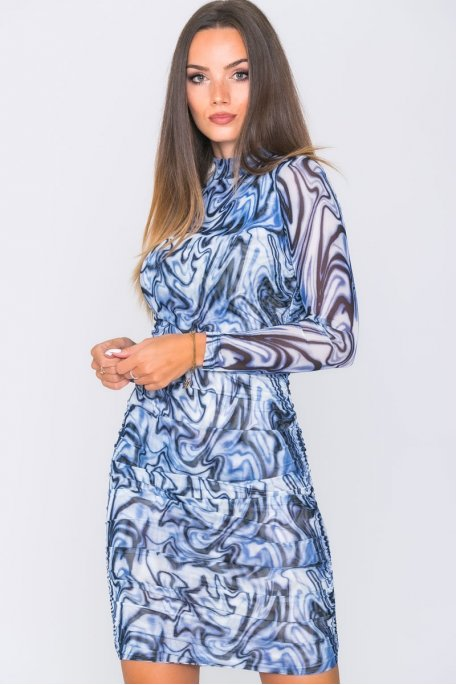 Robe moulante froncée motif abstrait bleu