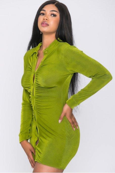 Robe courte moulante boutonnée vert