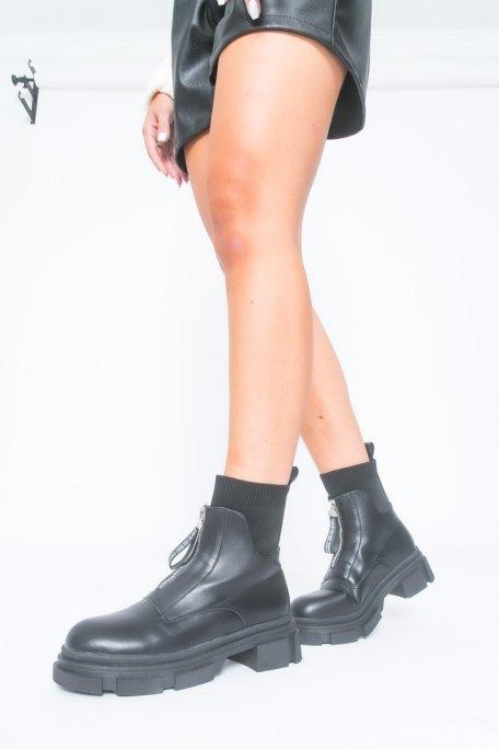 Bottines à zip chaussette noir