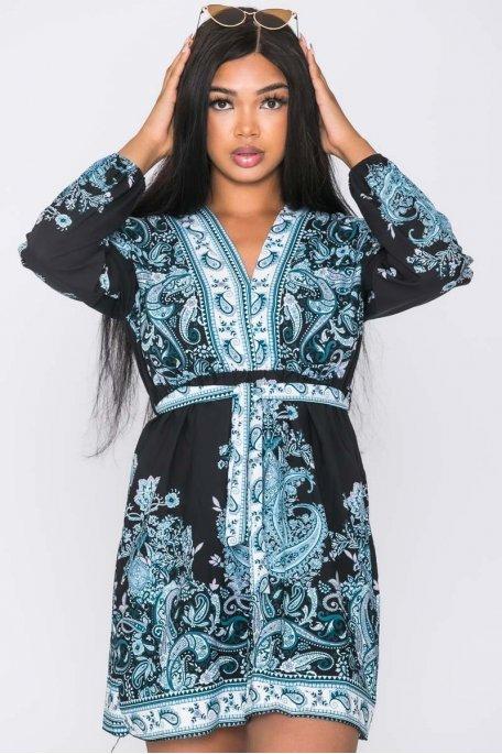 Robe kimono baroque ceinturée noir