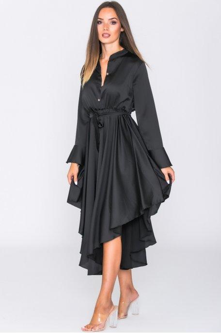 Robe longue satinée volants noir