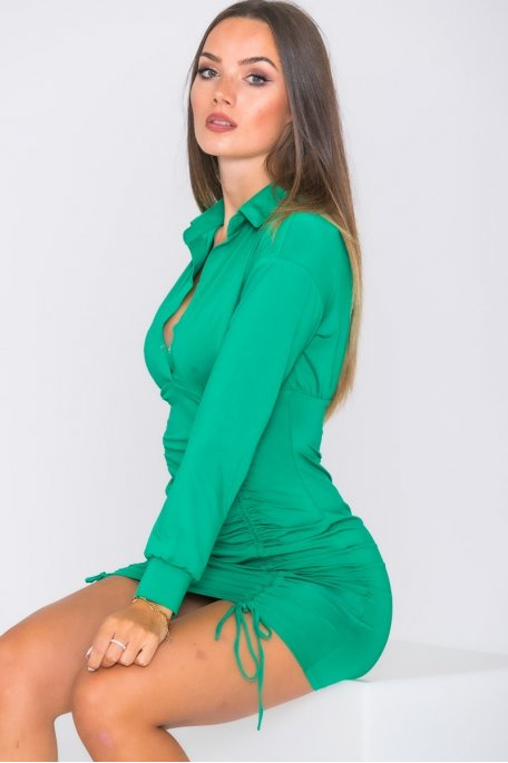 Robe froncée moulante vert