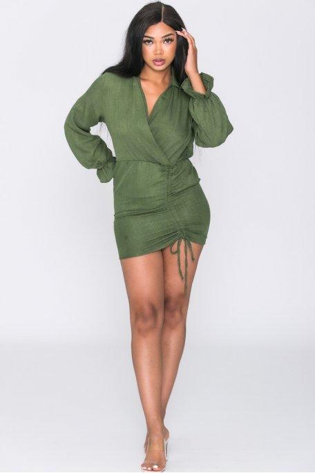 Robe froncée décolleté cache-coeur vert