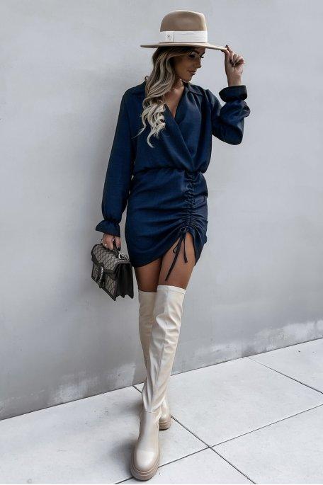 Robe froncée décolleté cache-coeur bleu