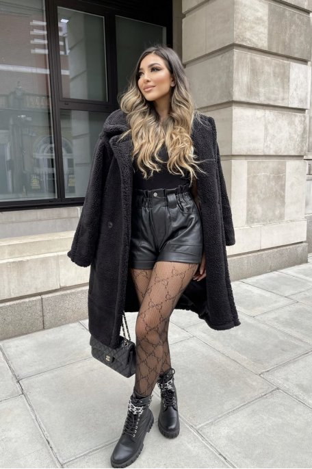 Manteau teddy mi-long noir