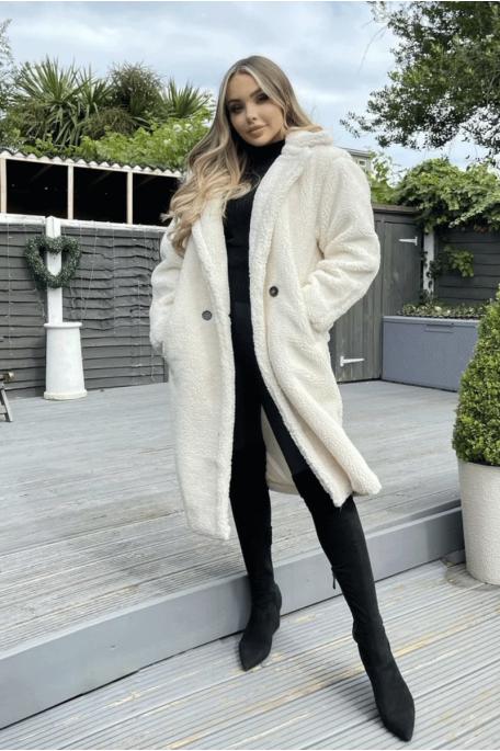Manteau teddy mi-long beige