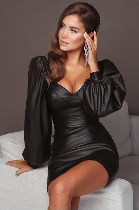 Robe courte simili moulante noir
