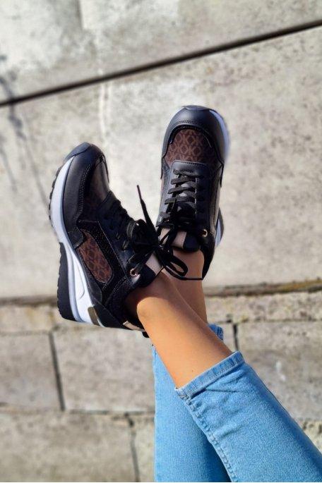 Baskets bi-matière K noir