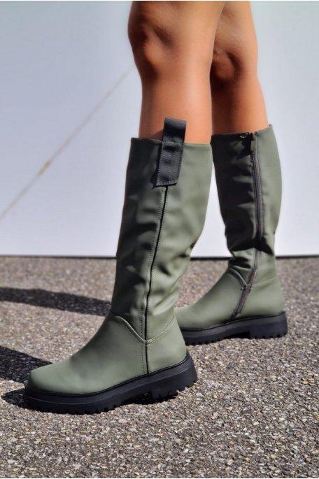 Bottes mi-hautes kaki
