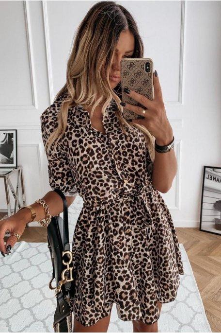 Robe chemise fluide imprimée léopard beige