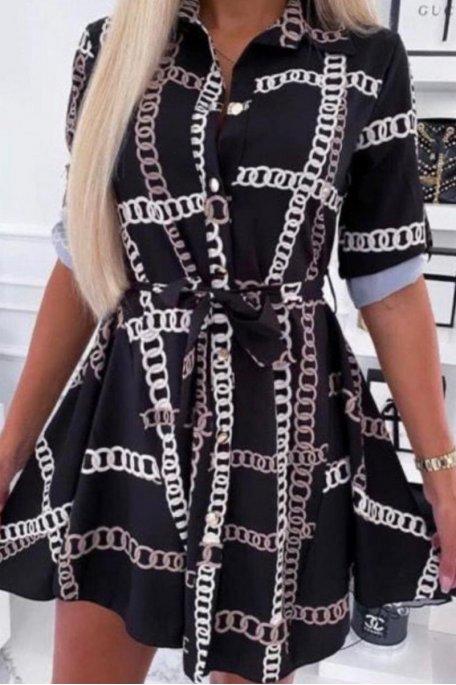 Robe chemise fluide imprimée chaînes noir