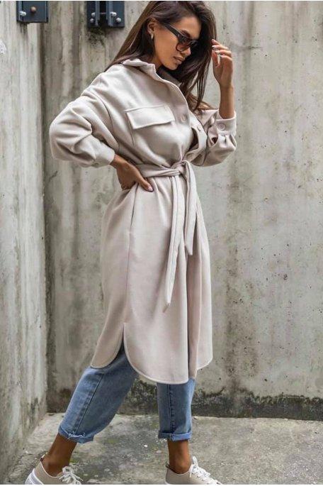 Manteau style surchemise long ceinturé beige