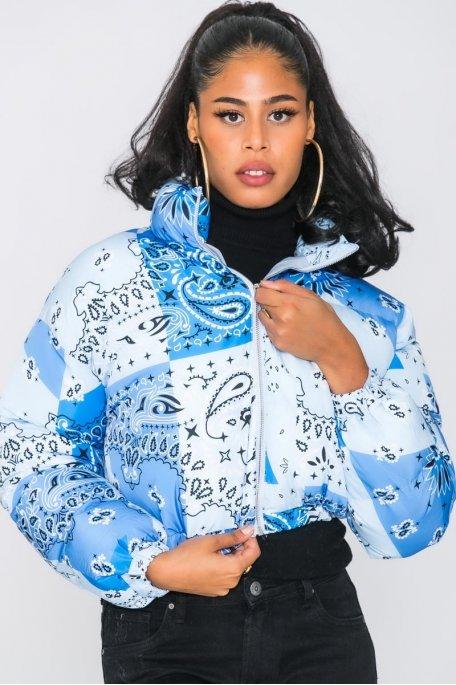 Doudoune courte motif bandana bleu