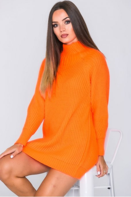 Robe pull en maille col montant orange