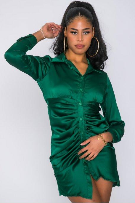 Robe chemise satinée froncée vert
