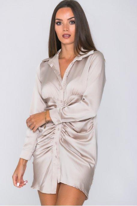 Robe chemise satinée froncée beige