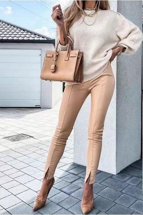 Pantalon simili cuir fendu camel