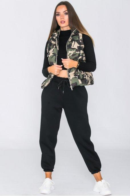 Doudoune sans manche camouflage kaki