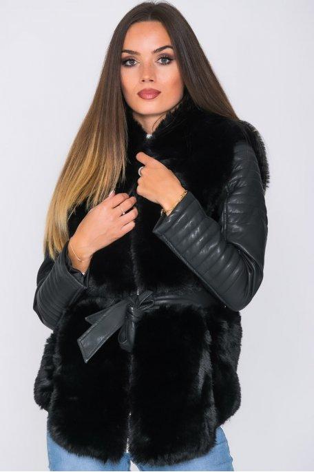 Veste capuche fausse fourrure simili ceinturée noir