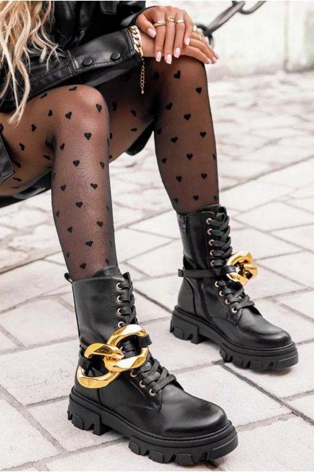 Boots semelle épaisse chaîne dorée noir