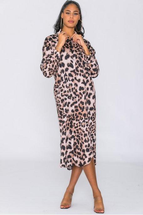 Robe longue imprimé léopard avec poche camel