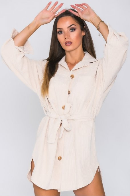 Robe chemise côtelée boutons beige