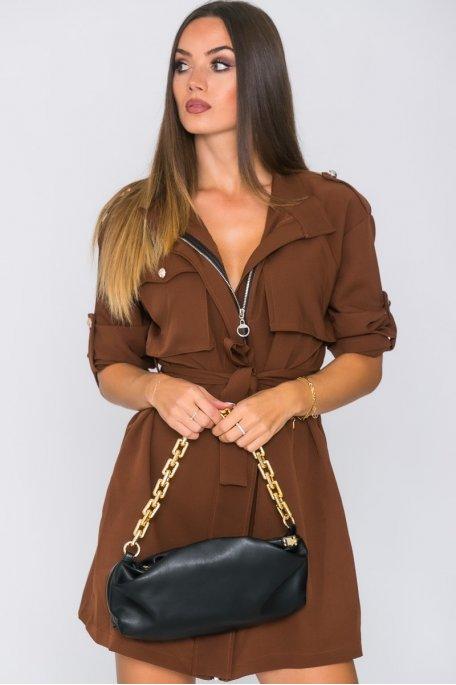 Robe zippée à boutons officier marron