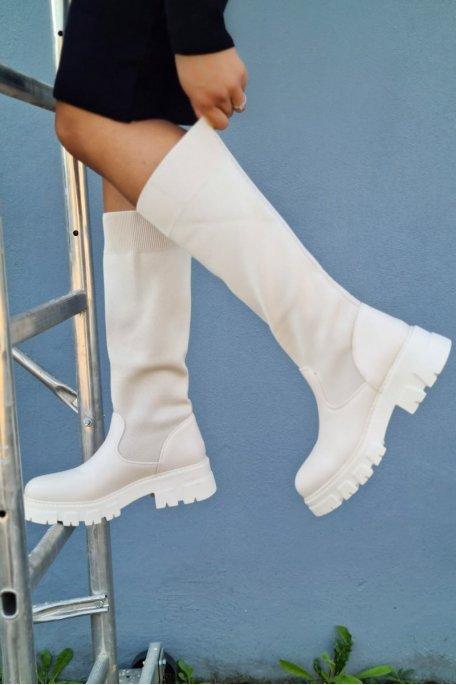 Bottes chaussettes semelle crantée beige