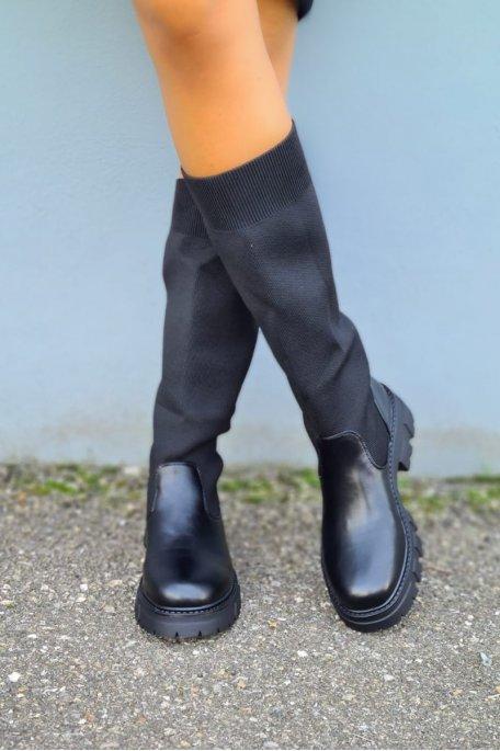 Bottes chaussettes semelle crantée noir