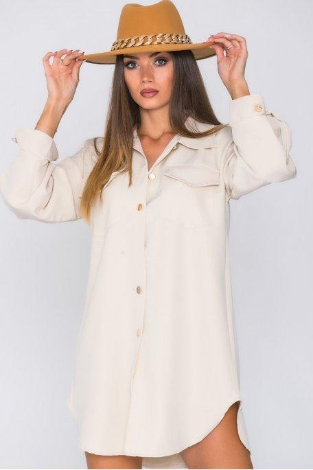 Robe chemise à poches beige
