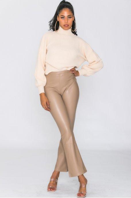 Pantalon flare simili beige