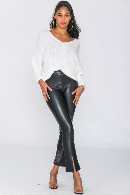 Pantalon droit simili fendu noir