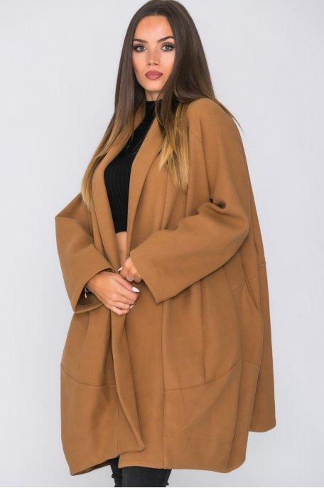 Manteau sans bouton oversize camel