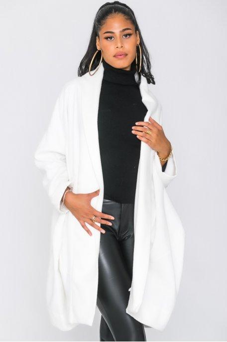 Manteau sans bouton oversize blanc