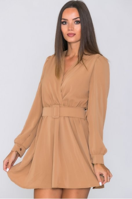 Robe col v manches longues ceinture camel