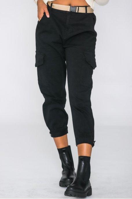 Pantalon cargo avec ceinture noir