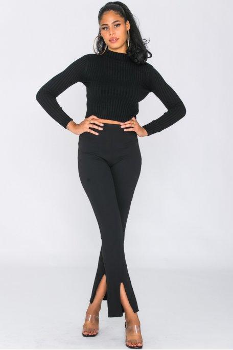 Pantalon flare fendu noir