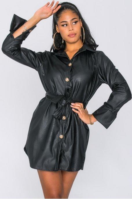 Robe chemise simili ceinturée boutonnée noir