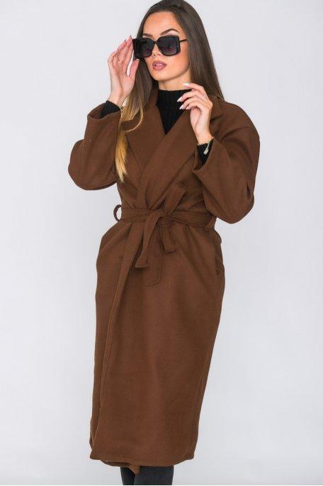 Manteau long ceinturé marron