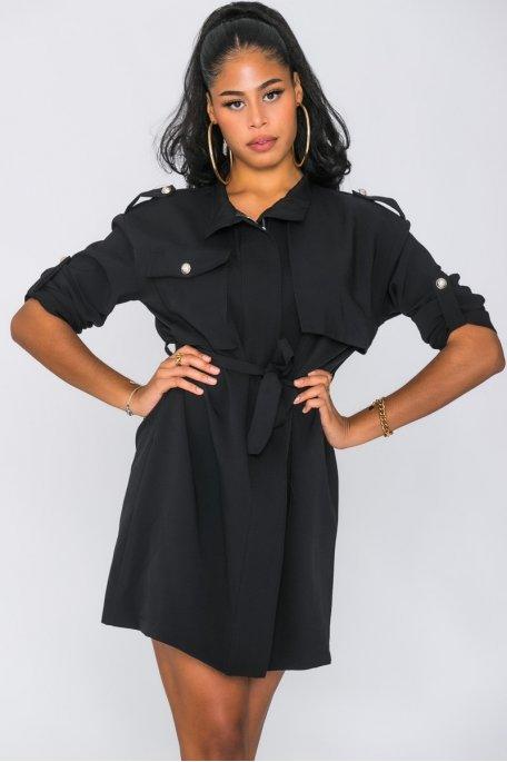 Robe zippée à boutons officier noir