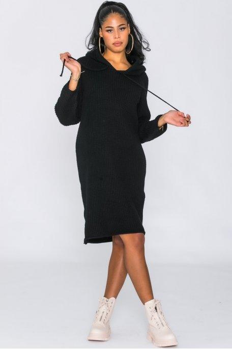 Robe pull en maille capuche noir