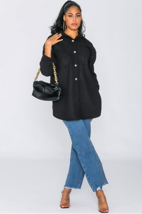 Surchemise boutonnée poches noir