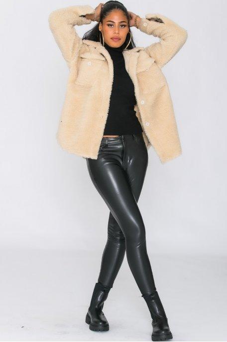 Manteau fausse fourrure poches boutonné beige